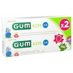 GUM KIDS DENTIFRICE FLUORÉ 2-6 ANS LOT DE 2 X 50 ML