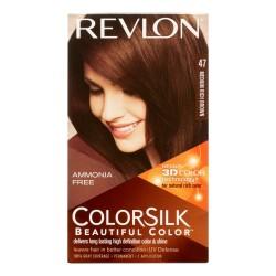 Revlon Coloration permanente Colorsilk Beautiful Color - Couleur radieuse longue tenue - Couleur 47 Brun riche moyen