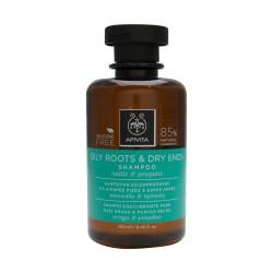 Apivita shampooing équilibrant pour racines grasses et pointes sèches 250ml