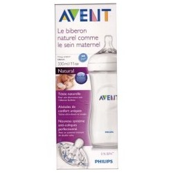 AVENT : biberon natural silicone 330 ml 3m+ TRANSPARENT